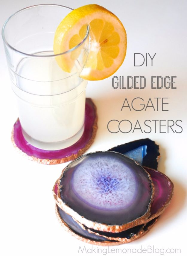 Cool Gifts to Make For Mom - DIY Gilded Edge Agate Coasters - DIY Gift Ideas and Christmas Presents for Your Mother, Mother-In-Law, Grandma, Stepmom - Creative , Holiday Crafts and Cheap DIY Gifts for The Holidays - Thoughtful Homemade Spa Day Gifts, Creative Wall Art, Special Ideas for Her - Easy Xmas Gifts to Make With Step by Step Tutorials and Instructions #diygifts #mom