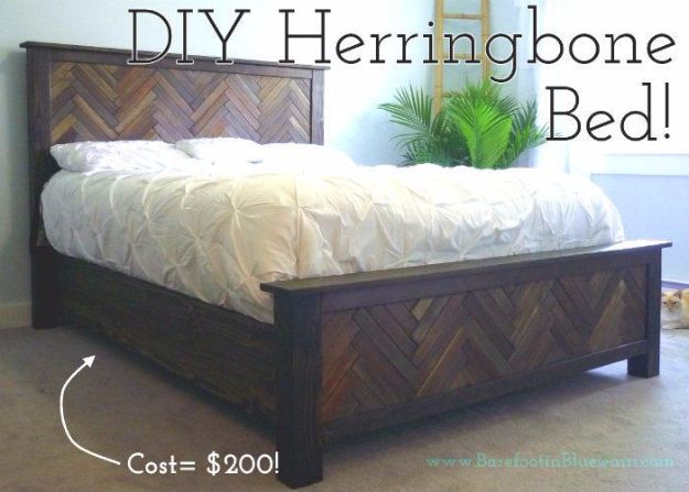 DIY Platform Beds - DIY Herringbone Bed - Easy Do It Yourself Bed Projects - Step by Step Tutorials for Bedroom Furniture - Learn How To Make Twin, Full, King and Queen Size Platforms - With Headboard, Storage, Drawers, Made from Pallets - Cheap Ideas You Can Make on a Budget http://diyjoy.com/diy-platform-beds
