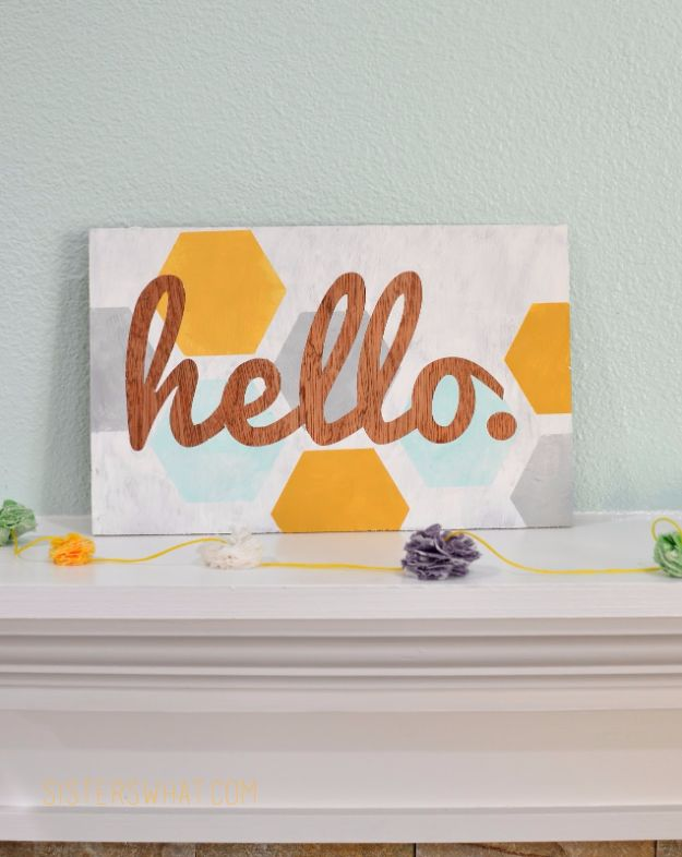 Cheap DIY Gifts and Inexpensive Homemade Christmas Gift Ideas for People on A Budget - DIY Hexagon Hello Sign - To Make These Cool Presents Instead of Buying for the Holidays - Easy and Low Cost Gifts for Mom, Dad, Friends and Family - Quick Dollar Store Crafts and Projects for Xmas Gift Giving Parties - Step by Step Tutorials and Instructions http://diyjoy.com/cheap-holiday-gift-ideas-to-make