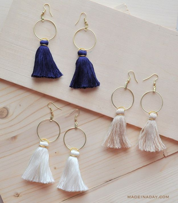 Cool Gifts to Make For Mom - DIY Hoop Tassel Earrings - DIY Gift Ideas and Christmas Presents for Your Mother, Mother-In-Law, Grandma, Stepmom - Creative , Holiday Crafts and Cheap DIY Gifts for The Holidays - Thoughtful Homemade Spa Day Gifts, Creative Wall Art, Special Ideas for Her - Easy Xmas Gifts to Make With Step by Step Tutorials and Instructions #diygifts #mom