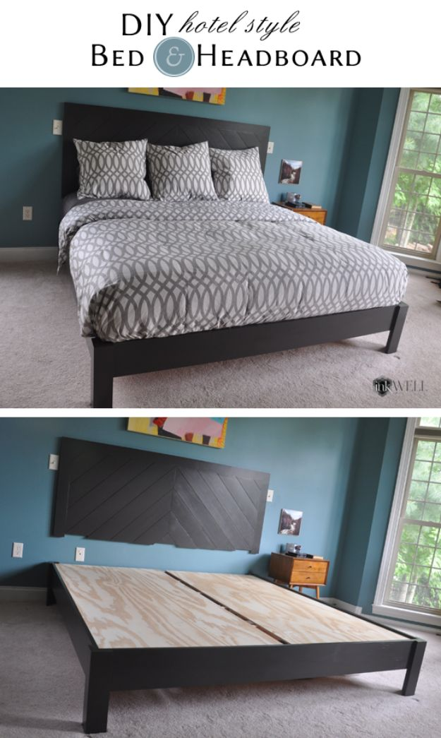 DIY Platform Beds - DIY Hotel Style Platform Bed - Easy Do It Yourself Bed Projects - Step by Step Tutorials for Bedroom Furniture - Learn How To Make Twin, Full, King and Queen Size Platforms - With Headboard, Storage, Drawers, Made from Pallets - Cheap Ideas You Can Make on a Budget http://diyjoy.com/diy-platform-beds