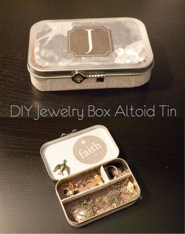 DIY Jewelry Ideas - DIY Jewelry Box Altoid Can - How To Make the Coolest Jewelry Ideas For Kids and Teens - Homemade Wooden and Plastic Jewelry Box Plans - Easy Cardboard Gift Ideas - Cheap Wall Makeover and Organizer Projects With Drawers Men http://diyjoy.com/diy-jewelry-boxes-storage
