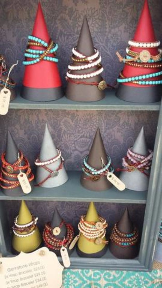 DIY Jewelry Ideas - DIY Jewelry Display Cones - How To Make the Coolest Jewelry Ideas For Kids and Teens - Homemade Wooden and Plastic Jewelry Box Plans - Easy Cardboard Gift Ideas - Cheap Wall Makeover and Organizer Projects With Drawers Men http://diyjoy.com/diy-jewelry-boxes-storage