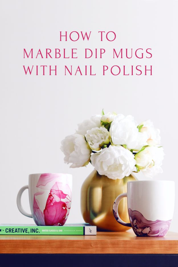 Cheap DIY Gifts and Inexpensive Homemade Christmas Gift Ideas for People on A Budget - DIY Marble Dipped Mug - To Make These Cool Presents Instead of Buying for the Holidays - Easy and Low Cost Gifts for Mom, Dad, Friends and Family - Quick Dollar Store Crafts and Projects for Xmas Gift Giving #gifts #diy