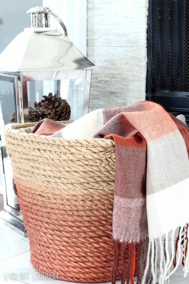 Cool Gifts to Make For Mom - DIY Metallic Rope Throw Basket - DIY Gift Ideas and Christmas Presents for Your Mother, Mother-In-Law, Grandma, Stepmom - Creative , Holiday Crafts and Cheap DIY Gifts for The Holidays - Thoughtful Homemade Spa Day Gifts, Creative Wall Art, Special Ideas for Her - Easy Xmas Gifts to Make With Step by Step Tutorials and Instructions #diygifts #mom