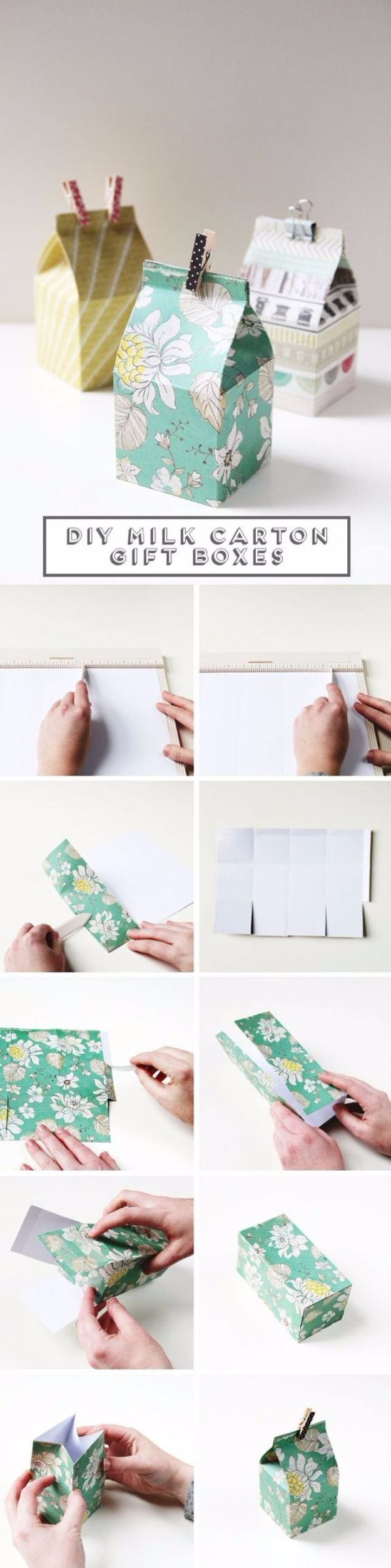 Cool Gift Wrapping Ideas - DIY Mini Milk Carton Gift Boxes - Creative Ways To Wrap Presents on A Budget - Best Christmas Gift Wrap Ideas - How To Make Gift Bags, Reuse Wrapping Paper, Make Bows and Tags - Cute and Easy Ideas for Wrapping Gifts for the Holidays - Step by Step Instructions and Photo Tutorials