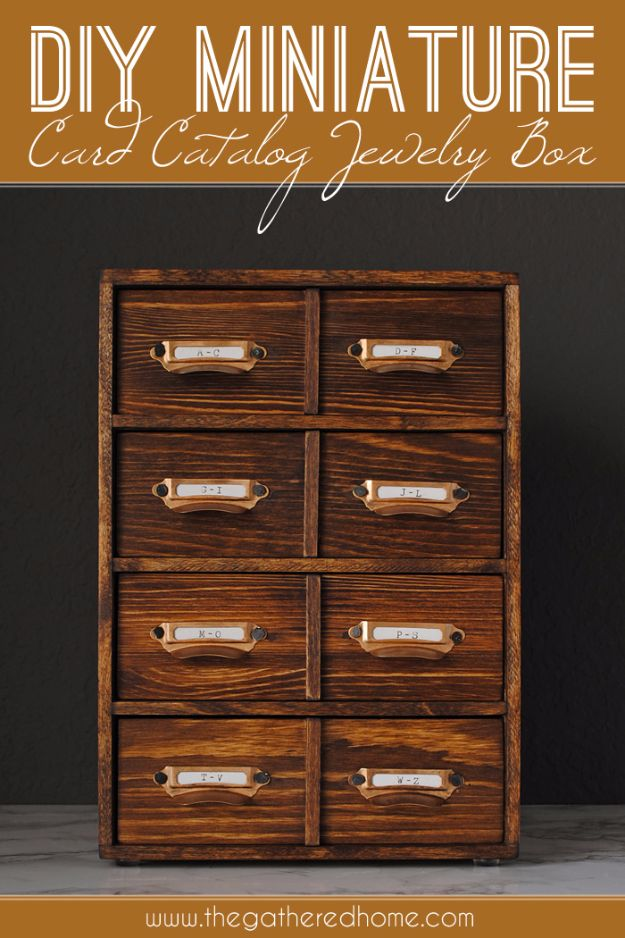 DIY Jewelry Ideas - DIY Miniature Card Catalog Jewelry Box - How To Make the Coolest Jewelry Ideas For Kids and Teens - Homemade Wooden and Plastic Jewelry Box Plans - Easy Cardboard Gift Ideas - Cheap Wall Makeover and Organizer Projects With Drawers Men http://diyjoy.com/diy-jewelry-boxes-storage