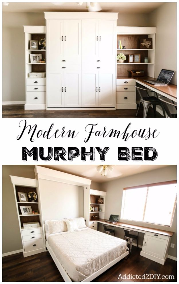 DIY Platform Beds - DIY Modern Farmhouse Murphy Bed - Easy Do It Yourself Bed Projects - Step by Step Tutorials for Bedroom Furniture - Learn How To Make Twin, Full, King and Queen Size Platforms - With Headboard, Storage, Drawers, Made from Pallets - Cheap Ideas You Can Make on a Budget http://diyjoy.com/diy-platform-beds
