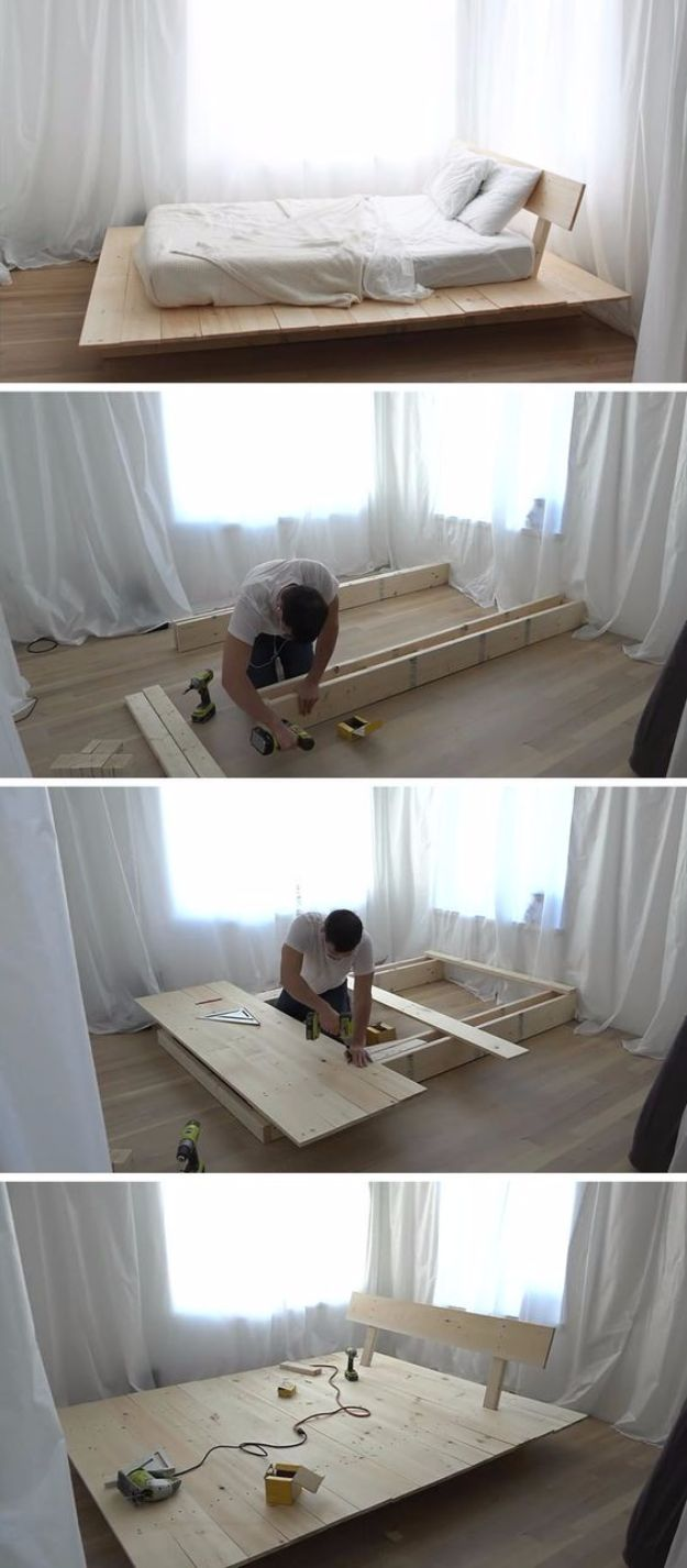 DIY Platform Beds - DIY Modern Wood Platform Bed - Easy Do It Yourself Bed Projects - Step by Step Tutorials for Bedroom Furniture - Learn How To Make Twin, Full, King and Queen Size Platforms - With Headboard, Storage, Drawers, Made from Pallets - Cheap Ideas You Can Make on a Budget http://diyjoy.com/diy-platform-beds
