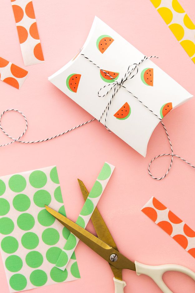 Cool Gift Wrapping Ideas - DIY Office Label Watermelon Stickers - Creative Ways To Wrap Presents on A Budget - Best Christmas Gift Wrap Ideas - How To Make Gift Bags, Reuse Wrapping Paper, Make Bows and Tags - Cute and Easy Ideas for Wrapping Gifts for the Holidays - Step by Step Instructions and Photo Tutorials