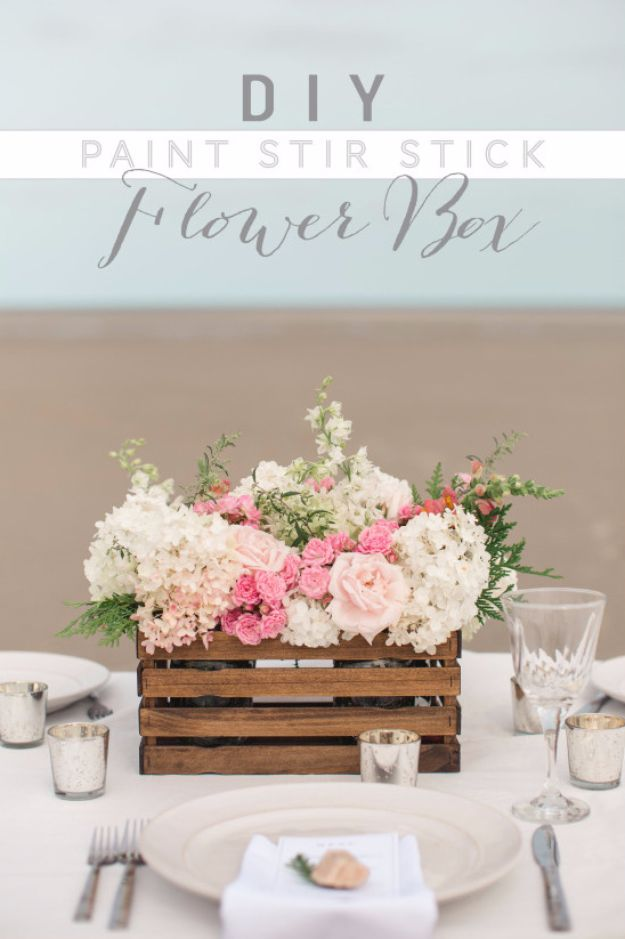 DIY Wedding Decor - DIY Paint Stir Stick Flower Box - Easy and Cheap Project Ideas with Things Found in Dollar Stores - Simple and Creative Backdrops for Receptions On A Budget - Rustic, Elegant, and Vintage Paper Ideas for Centerpieces, and Vases