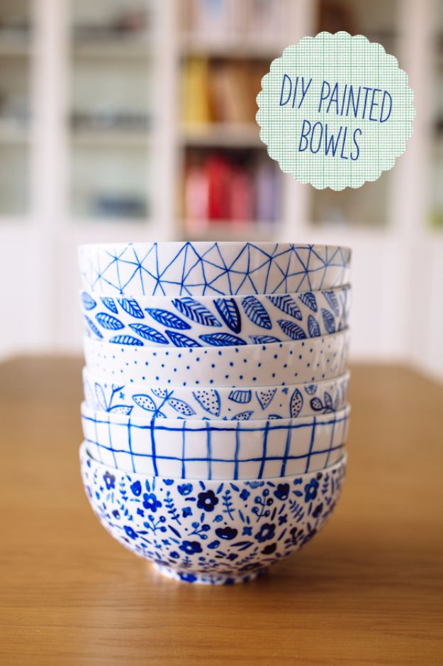 Cool Gifts to Make For Mom - DIY Painted Bowls - DIY Gift Ideas and Christmas Presents for Your Mother, Mother-In-Law, Grandma, Stepmom - Creative , Holiday Crafts and Cheap DIY Gifts for The Holidays - Thoughtful Homemade Spa Day Gifts, Creative Wall Art, Special Ideas for Her - Easy Xmas Gifts to Make With Step by Step Tutorials and Instructions #diygifts #mom