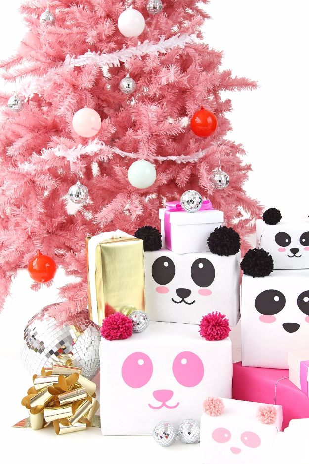 Cool Gift Wrapping Ideas - DIY Panda Gift Wrap - Creative Ways To Wrap Presents on A Budget - Best Christmas Gift Wrap Ideas - How To Make Gift Bags, Reuse Wrapping Paper, Make Bows and Tags - Cute and Easy Ideas for Wrapping Gifts for the Holidays - Step by Step Instructions and Photo Tutorials