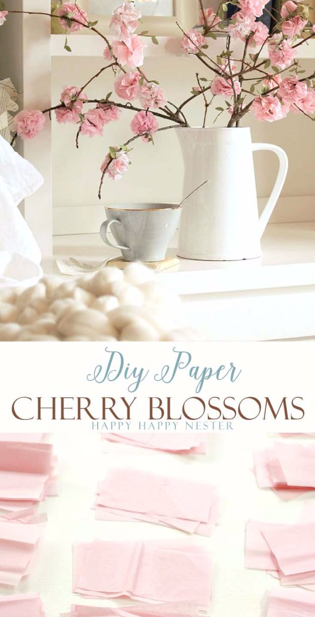 DIY Paper Flowers - DIY Paper Cherry Blossoms - How To Make A Paper Flower - Large Wedding Backdrop for Wall Decor - Easy Tissue Paper Flower Tutorial for Kids - Giant Projects for Photo Backdrops - Daisy, Roses, Bouquets, Centerpieces - Cricut Template and Step by Step Tutorial http://diyjoy.com/diy-paper-flowers