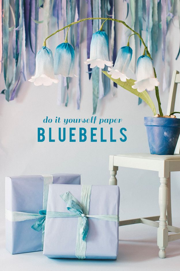 DIY Paper Flowers - DIY Paper Flower Bells - How To Make A Paper Flower - Large Wedding Backdrop for Wall Decor - Easy Tissue Paper Flower Tutorial for Kids - Giant Projects for Photo Backdrops - Daisy, Roses, Bouquets, Centerpieces - Cricut Template and Step by Step Tutorial http://diyjoy.com/diy-paper-flowers