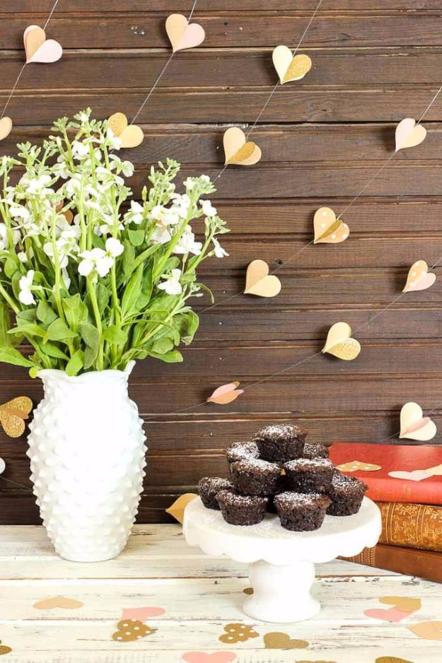 DIY Wedding Decor - DIY Paper Heart Garland - Easy and Cheap Project Ideas with Things Found in Dollar Stores - Simple and Creative Backdrops for Receptions On A Budget - Rustic, Elegant, and Vintage Paper Ideas for Centerpieces, and Vases