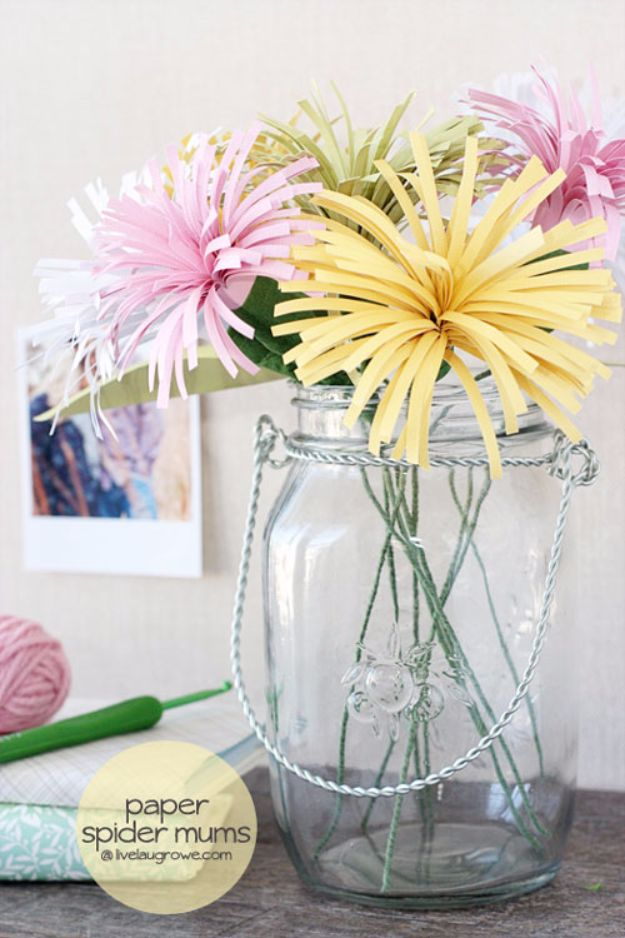DIY Paper Flowers - DIY Paper Spider Mums - How To Make A Paper Flower - Large Wedding Backdrop for Wall Decor - Easy Tissue Paper Flower Tutorial for Kids - Giant Projects for Photo Backdrops - Daisy, Roses, Bouquets, Centerpieces - Cricut Template and Step by Step Tutorial http://diyjoy.com/diy-paper-flowers