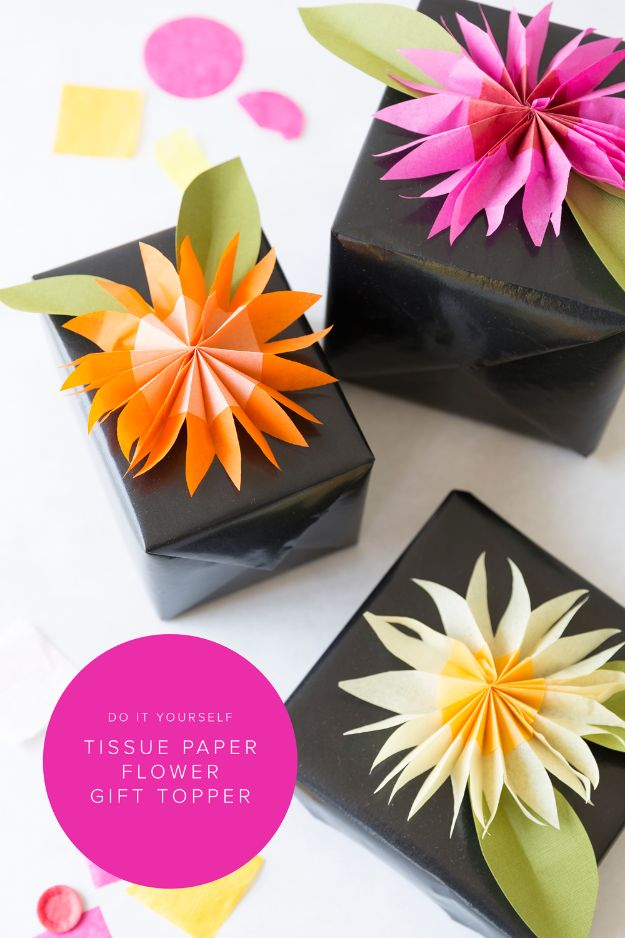 Cool Gift Wrapping Ideas - DIY Paper Tissue Flower Gift Topper - Creative Ways To Wrap Presents on A Budget - Best Christmas Gift Wrap Ideas - How To Make Gift Bags, Reuse Wrapping Paper, Make Bows and Tags - Cute and Easy Ideas for Wrapping Gifts for the Holidays - Step by Step Instructions and Photo Tutorials http://diyjoy.com/gift-wrapping-tutorials