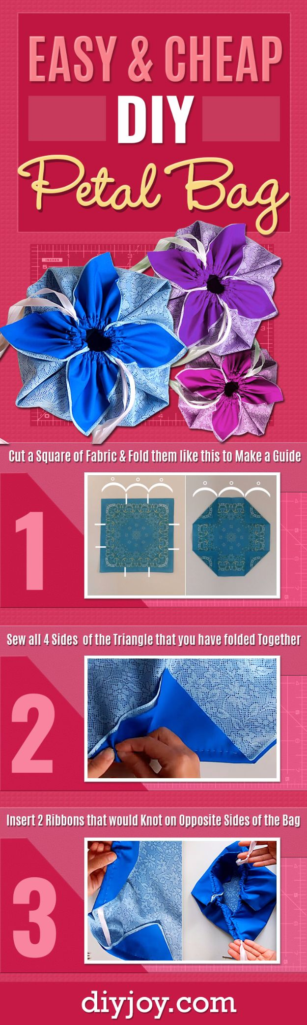 Cheap DIY Gifts and Inexpensive Homemade Christmas Gift Ideas for People on A Budget - DIY Petal Bag - To Make These Cool Presents Instead of Buying for the Holidays - Easy and Low Cost Gifts for Mom, Dad, Friends and Family - Quick Dollar Store Crafts and Projects for Xmas Gift Giving #gifts #diy