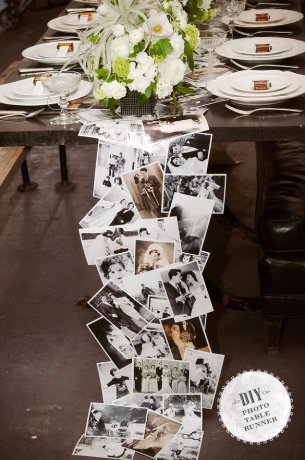 DIY Wedding Decor - DIY Photo Table Runner - Easy and Cheap Project Ideas with Things Found in Dollar Stores - Simple and Creative Backdrops for Receptions On A Budget - Rustic, Elegant, and Vintage Paper Ideas for Centerpieces, and Vases