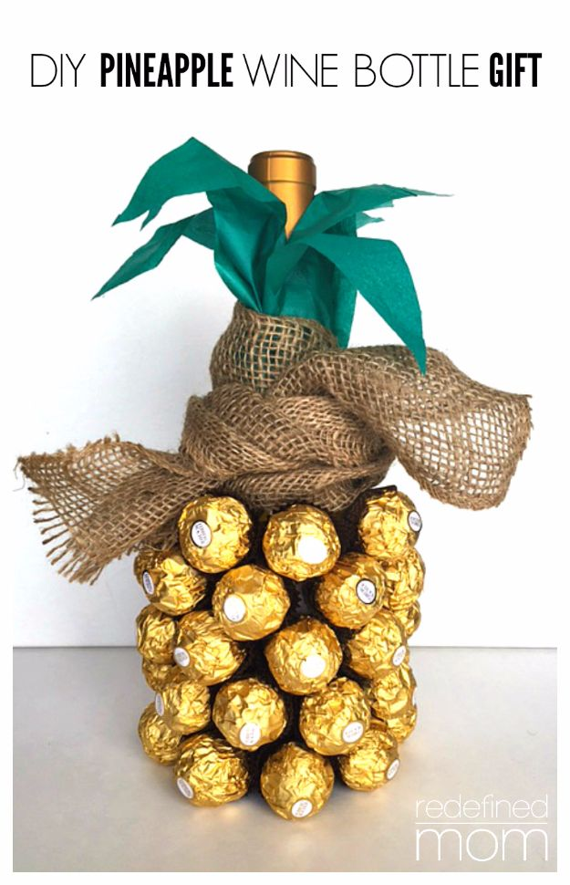 Cool Gifts to Make For Mom - DIY Pineapple Wine Bottle Gift - DIY Gift Ideas and Christmas Presents for Your Mother, Mother-In-Law, Grandma, Stepmom - Creative , Holiday Crafts and Cheap DIY Gifts for The Holidays - Thoughtful Homemade Spa Day Gifts, Creative Wall Art, Special Ideas for Her - Easy Xmas Gifts to Make With Step by Step Tutorials and Instructions #diygifts #mom