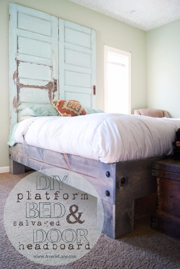 DIY Platform Beds - DIY Platform Bed And Salvaged Door Headboard - Easy Do It Yourself Bed Projects - Step by Step Tutorials for Bedroom Furniture - Learn How To Make Twin, Full, King and Queen Size Platforms - With Headboard, Storage, Drawers, Made from Pallets - Cheap Ideas You Can Make on a Budget http://diyjoy.com/diy-platform-beds