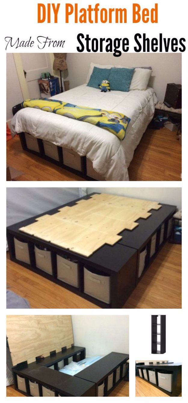 DIY Platform Beds - DIY Platform Bed Made From Storage Shelves - Easy Do It Yourself Bed Projects - Step by Step Tutorials for Bedroom Furniture - Learn How To Make Twin, Full, King and Queen Size Platforms - With Headboard, Storage, Drawers, Made from Pallets - Cheap Ideas You Can Make on a Budget http://diyjoy.com/diy-platform-beds