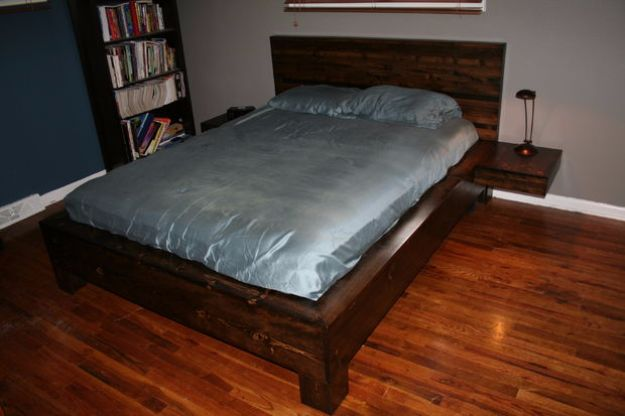 DIY Platform Beds - DIY Platform Bed With Floating Nightstands - Easy Do It Yourself Bed Projects - Step by Step Tutorials for Bedroom Furniture - Learn How To Make Twin, Full, King and Queen Size Platforms - With Headboard, Storage, Drawers, Made from Pallets - Cheap Ideas You Can Make on a Budget
