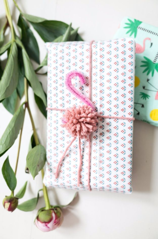 Cool Gift Wrapping Ideas - DIY Pom Pom Flamingo Gift Wrap - Creative Ways To Wrap Presents on A Budget - Best Christmas Gift Wrap Ideas - How To Make Gift Bags, Reuse Wrapping Paper, Make Bows and Tags - Cute and Easy Ideas for Wrapping Gifts for the Holidays - Step by Step Instructions and Photo Tutorials