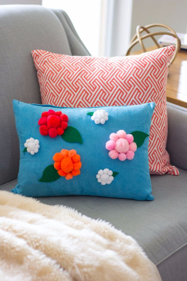 Cheap DIY Gifts and Inexpensive Homemade Christmas Gift Ideas for People on A Budget - DIY Pom-Pom Flower Pillow - To Make These Cool Presents Instead of Buying for the Holidays - Easy and Low Cost Gifts for Mom, Dad, Friends and Family - Quick Dollar Store Crafts and Projects for Xmas Gift Giving #gifts #diy