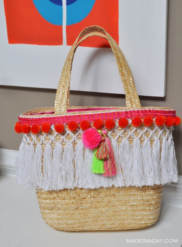 Cool Gifts to Make For Mom - DIY Pom Tassel Basket Totes - DIY Gift Ideas and Christmas Presents for Your Mother, Mother-In-Law, Grandma, Stepmom - Creative , Holiday Crafts and Cheap DIY Gifts for The Holidays - Thoughtful Homemade Spa Day Gifts, Creative Wall Art, Special Ideas for Her - Easy Xmas Gifts to Make With Step by Step Tutorials and Instructions #diygifts #mom