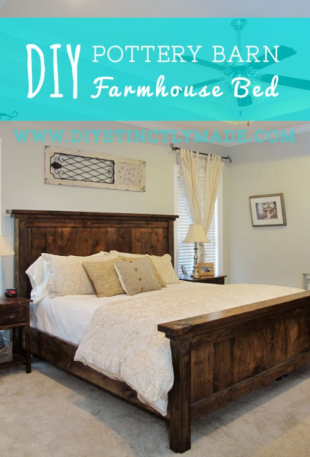 DIY Platform Beds - DIY Pottery Barn Inspired Farmhouse Bed - Easy Do It Yourself Bed Projects - Step by Step Tutorials for Bedroom Furniture - Learn How To Make Twin, Full, King and Queen Size Platforms - With Headboard, Storage, Drawers, Made from Pallets - Cheap Ideas You Can Make on a Budget http://diyjoy.com/diy-platform-beds
