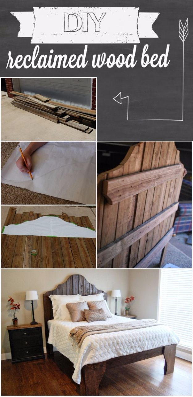 DIY Platform Beds - DIY Reclaimed Wooden Bed - Easy Do It Yourself Bed Projects - Step by Step Tutorials for Bedroom Furniture - Learn How To Make Twin, Full, King and Queen Size Platforms - With Headboard, Storage, Drawers, Made from Pallets - Cheap Ideas You Can Make on a Budget http://diyjoy.com/diy-platform-beds