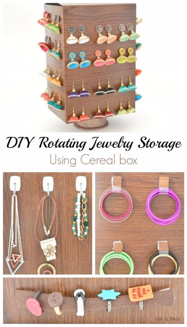DIY Jewelry Ideas - DIY Rotating Jewelry Storage Using Cereal Box - How To Make the Coolest Jewelry Ideas For Kids and Teens - Homemade Wooden and Plastic Jewelry Box Plans - Easy Cardboard Gift Ideas - Cheap Wall Makeover and Organizer Projects With Drawers Men http://diyjoy.com/diy-jewelry-boxes-storage