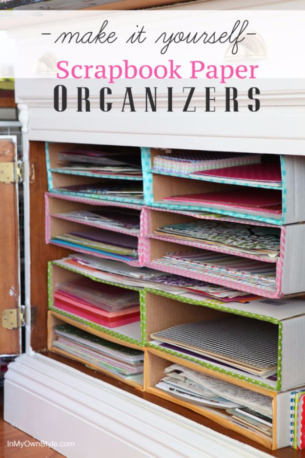 DIY Ideas With Cardboard - DIY Scrapbook Paper Organizer - How To Make Room Decor Crafts for Kids - Easy and Crafty Storage Ideas For Room - Toilet Paper Roll Projects Tutorials - Fun Furniture Ideas with Cardboard - Cheap, Quick and Easy Wall Decorations http://diyjoy.com/diy-ideas-cardboard
