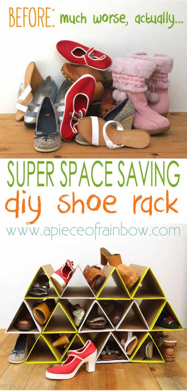 DIY Ideas With Cardboard - DIY Shoe Rack - How To Make Room Decor Crafts for Kids - Easy and Crafty Storage Ideas For Room - Toilet Paper Roll Projects Tutorials - Fun Furniture Ideas with Cardboard - Cheap, Quick and Easy Wall Decorations #diyideas #cardboardcrafts #crafts