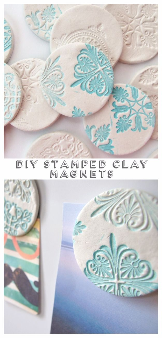 Cheap DIY Gifts and Inexpensive Homemade Christmas Gift Ideas for People on A Budget - DIY Stamped Clay Magnets - To Make These Cool Presents Instead of Buying for the Holidays - Easy and Low Cost Gifts for Mom, Dad, Friends and Family - Quick Dollar Store Crafts and Projects for Xmas Gift Giving #gifts #diy