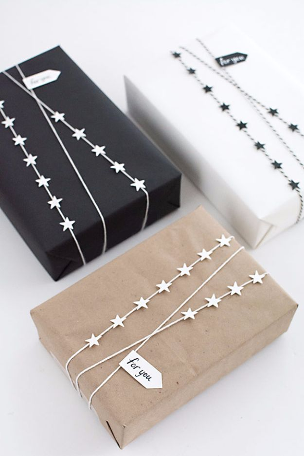 Cool Gift Wrapping Ideas - DIY Star Garland Gift Wrap - Creative Ways To Wrap Presents on A Budget - Best Christmas Gift Wrap Ideas - How To Make Gift Bags, Reuse Wrapping Paper, Make Bows and Tags - Cute and Easy Ideas for Wrapping Gifts for the Holidays - Step by Step Instructions and Photo Tutorials