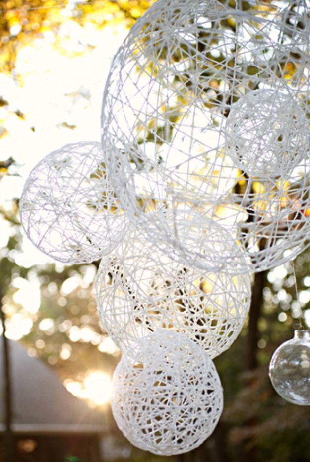 DIY Wedding Decor - DIY String Chandeliers - Easy and Cheap Project Ideas with Things Found in Dollar Stores - Simple and Creative Backdrops for Receptions On A Budget - Rustic, Elegant, and Vintage Paper Ideas for Centerpieces, and Vases