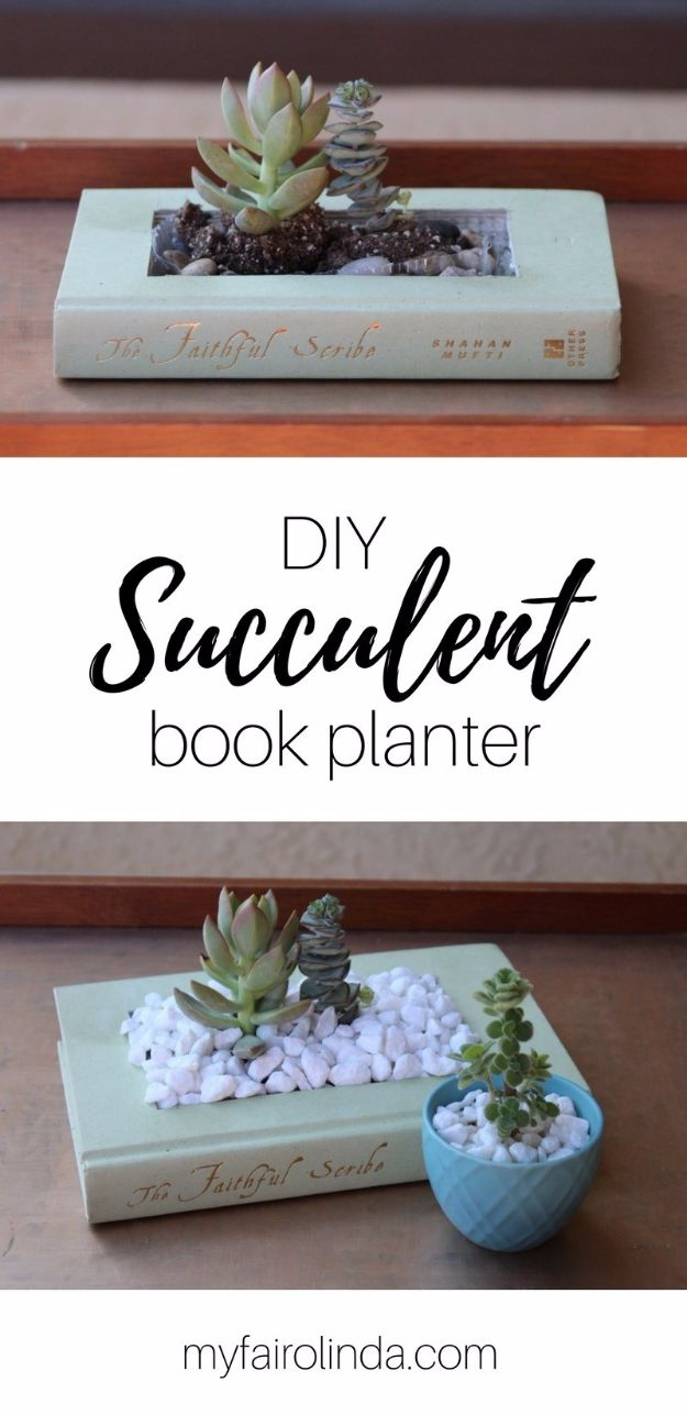 Cool Gifts to Make For Mom - DIY Succulent Book Planter - DIY Gift Ideas and Christmas Presents for Your Mother, Mother-In-Law, Grandma, Stepmom - Creative , Holiday Crafts and Cheap DIY Gifts for The Holidays - Thoughtful Homemade Spa Day Gifts, Creative Wall Art, Special Ideas for Her - Easy Xmas Gifts to Make With Step by Step Tutorials and Instructions #diygifts #mom