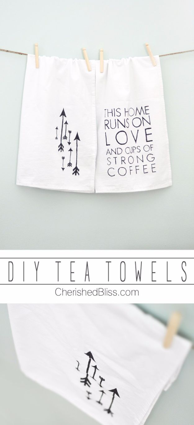 Cheap DIY Gifts and Inexpensive Homemade Christmas Gift Ideas for People on A Budget - DIY Tea Towels - To Make These Cool Presents Instead of Buying for the Holidays - Easy and Low Cost Gifts for Mom, Dad, Friends and Family - Quick Dollar Store Crafts and Projects for Xmas Gift Giving #gifts #diy