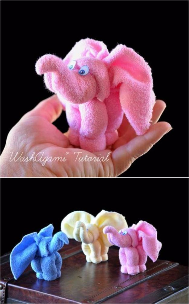 DIY Ideas With Old Towels - DIY Towel Elephant - Cool Crafts To Make With An Old Towel - Cheap Do It Yourself Gifts and Home Decor on A Budget - Creative But Cheap Ideas for Decorating Your House and Room - Upcycle Those Towels Instead of Throwing Them Away! http://diyjoy.com/diy-ideas-old-towels