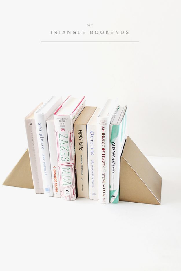 DIY Ideas With Cardboard - DIY Triangle Bookends - How To Make Room Decor Crafts for Kids - Easy and Crafty Storage Ideas For Room - Toilet Paper Roll Projects Tutorials - Fun Furniture Ideas with Cardboard - Cheap, Quick and Easy Wall Decorations #diyideas #cardboardcrafts #crafts