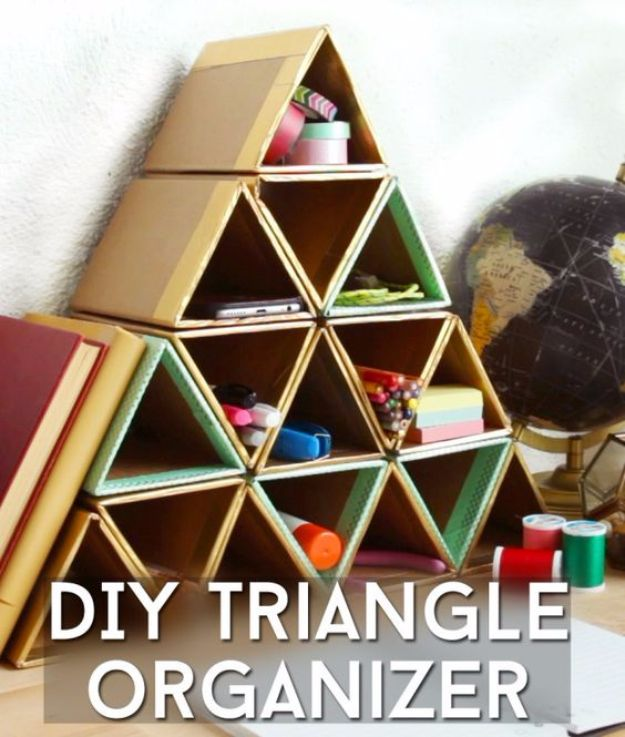 DIY Ideas With Cardboard - DIY Triangle Organizer - How To Make Room Decor Crafts for Kids - Easy and Crafty Storage Ideas For Room - Toilet Paper Roll Projects Tutorials - Fun Furniture Ideas with Cardboard - Cheap, Quick and Easy Wall Decorations http://diyjoy.com/diy-ideas-cardboard