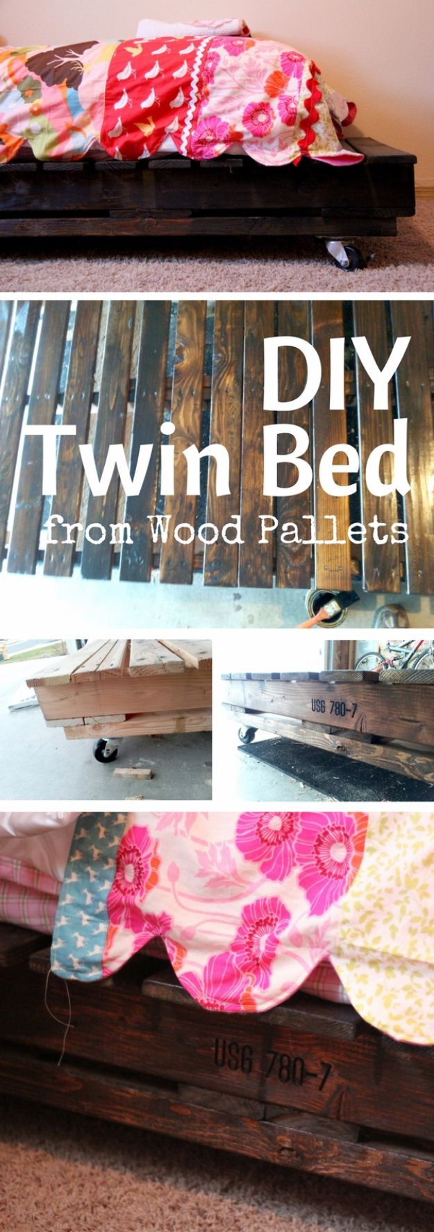 DIY Platform Beds - DIY Twin Bed from Wood Pallets - Easy Do It Yourself Bed Projects - Step by Step Tutorials for Bedroom Furniture - Learn How To Make Twin, Full, King and Queen Size Platforms - With Headboard, Storage, Drawers, Made from Pallets - Cheap Ideas You Can Make on a Budget