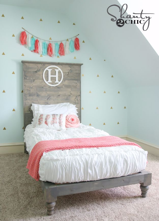 DIY Platform Beds - DIY Twin Platform Bed and Headboard - Easy Do It Yourself Bed Projects - Step by Step Tutorials for Bedroom Furniture - Learn How To Make Twin, Full, King and Queen Size Platforms - With Headboard, Storage, Drawers, Made from Pallets - Cheap Ideas You Can Make on a Budget http://diyjoy.com/diy-platform-beds