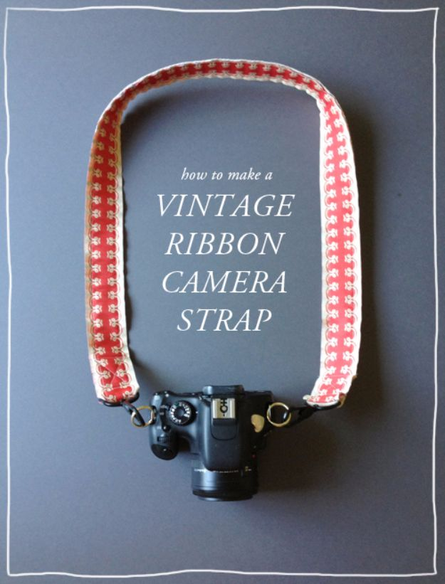Cheap DIY Gifts and Inexpensive Homemade Christmas Gift Ideas for People on A Budget - DIY Vintage Ribbon Camera Strap - To Make These Cool Presents Instead of Buying for the Holidays - Easy and Low Cost Gifts for Mom, Dad, Friends and Family - Quick Dollar Store Crafts and Projects for Xmas Gift Giving #gifts #diy