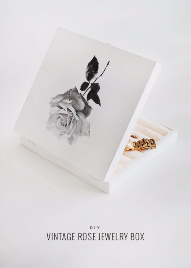 DIY Jewelry Ideas - DIY Vintage Rose Jewelry Box - How To Make the Coolest Jewelry Ideas For Kids and Teens - Homemade Wooden and Plastic Jewelry Box Plans - Easy Cardboard Gift Ideas - Cheap Wall Makeover and Organizer Projects With Drawers Men http://diyjoy.com/diy-jewelry-boxes-storage