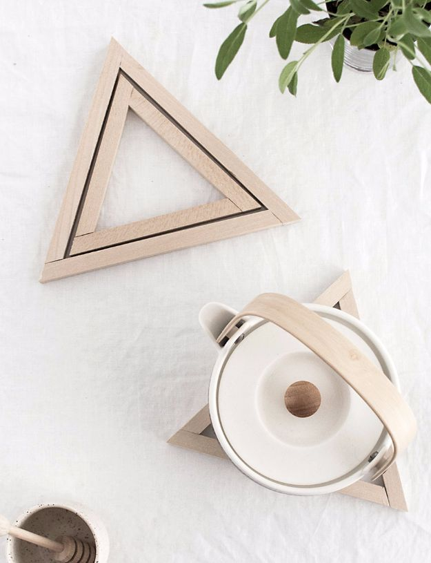 Cheap DIY Gifts and Inexpensive Homemade Christmas Gift Ideas for People on A Budget - DIY Wood Triangle Trivets - To Make These Cool Presents Instead of Buying for the Holidays - Easy and Low Cost Gifts for Mom, Dad, Friends and Family - Quick Dollar Store Crafts and Projects for Xmas Gift Giving #gifts #diy