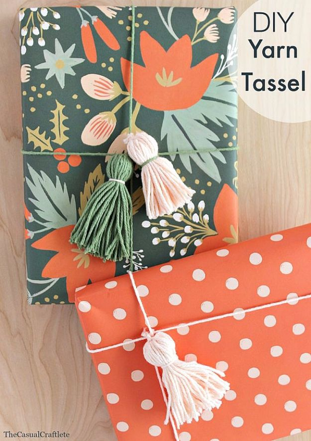 Cool Gift Wrapping Ideas - DIY Yarn Tassel - Creative Ways To Wrap Presents on A Budget - Best Christmas Gift Wrap Ideas - How To Make Gift Bags, Reuse Wrapping Paper, Make Bows and Tags - Cute and Easy Ideas for Wrapping Gifts for the Holidays - Step by Step Instructions and Photo Tutorials